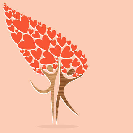 Expressive diversity tree of love. illustration layered for easy manipulation and custom coloring. Stock Vector - 17876814