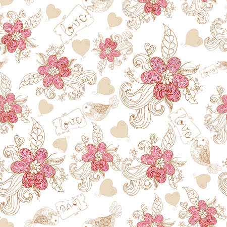 Spring time flowers and love birds seamless pattern. Vector file layered for easy manipulation and custom coloring. Stock Vector - 17878172