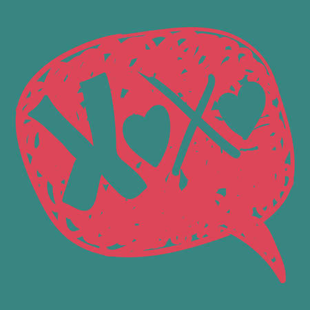 xoxo: Valentines love message in hand-drawn speech bubble. illustration layered for easy manipulation and custom coloring.