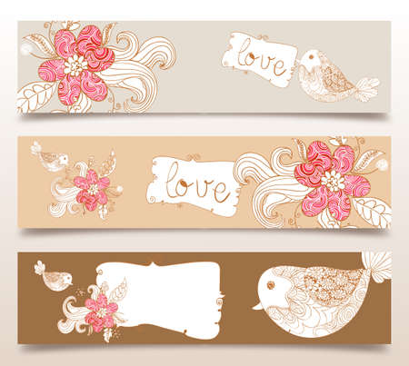 Valentine day love birds and spring flowers banners set background. Vector illustration layered for easy manipulation and custom coloring. Stock Vector - 17878169