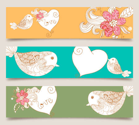Lovely bird and spring flowers banners set background. Vector illustration layered for easy manipulation and custom coloring. Vector