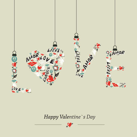 i love you: Valentine day Love hanging word composition greeting card. illustration layered for easy manipulation and custom coloring.