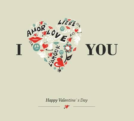 Valentinstag Lieben Schlüssel Grusskarte Hintergrund. Vektor ...