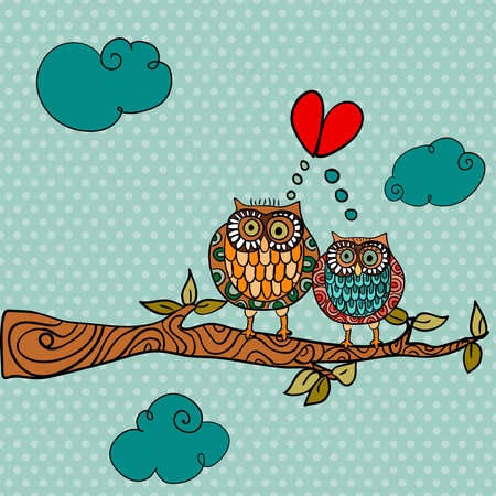 Valentine day owl couple in love greeting card background. Vector illustration layered for easy manipulation and custom coloring. Vector