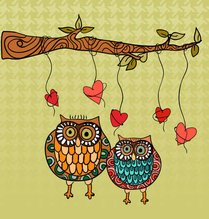 Valentine day owls couple love greeting card. Vector illustration layered for easy manipulation and custom coloring. Vector