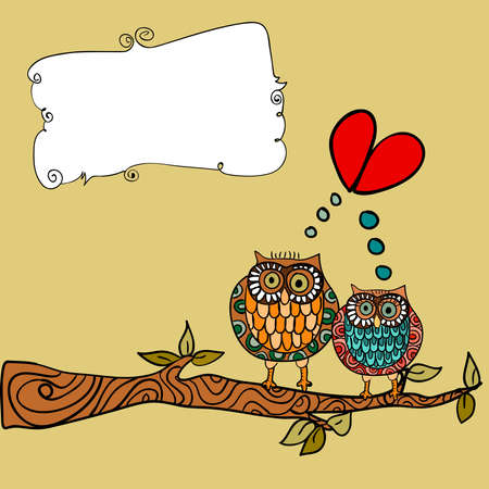 engagement cartoon: Valentine day lovely owls couple in tree branch greeting card background. Vector illustration layered for easy manipulation and custom coloring. Illustration