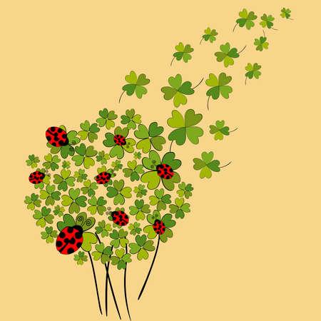 szeptember: Clover és katicabogarak tavasszal háttérben. fájl rétegű könnyű manipuláció és egyedi színek. Illusztráció