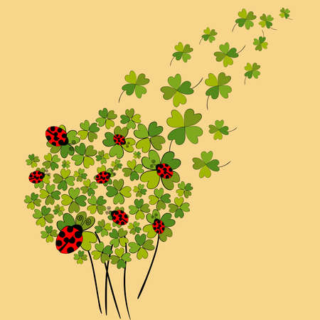 Clover and ladybugs spring background. file layered for easy manipulation and custom coloring. Vector