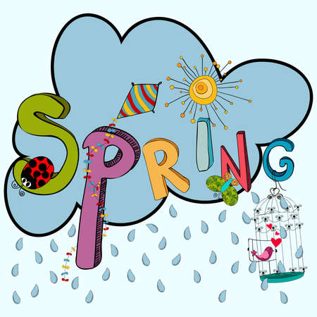 raining background: Cloud rain with vibrant spring elements: kite, ladybug, birds, flowers and butterfly. Vector file layered for easy manipulation and custom coloring.