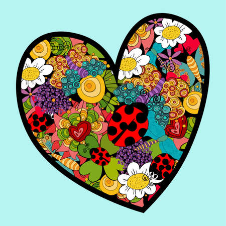 Multicolored heart love with spring elements: ladybug, flowers and butterfly. Vector file layered for easy manipulation and custom coloring. Vector