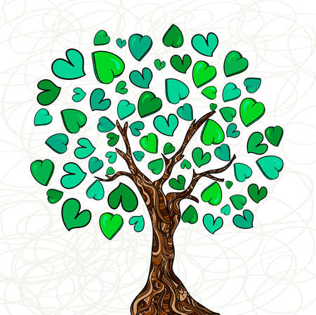 Valentine day hand-drawn love tree made of hearts background. Vector illustration layered for easy manipulation and custom coloring.