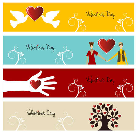 Valentine day greeting card banner set background. illustration layered for easy manipulation and custom coloring. Stock Vector - 17876831