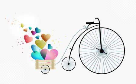 Valentijnsdag vintage fiets van de liefde. EPS10 illustratie met transparanten gelaagd voor eenvoudige manipulatie en aangepaste kleuren. Stock Illustratie