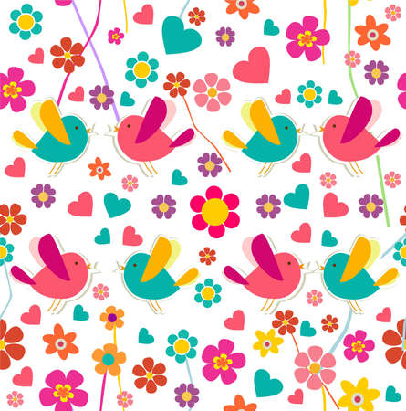 Spring birds and flowers seamless pattern. file layered for easy manipulation and custom coloring. Stock Vector - 17878224