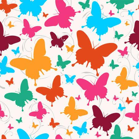 endlos: Frühling Schmetterling wirbeln nahtlose Muster. Vector-Datei für einfache Handhabung und individuelle Färbung geschichtet.