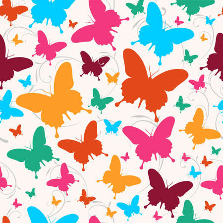 endlessly: Spring butterfly swirl seamless pattern. Vector file layered for easy manipulation and custom coloring.