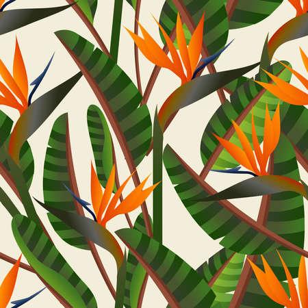 Voorjaar tijd hedendaagse vogel van het paradijs bloemen naadloze patroon. Vector bestand gelaagd voor eenvoudige manipulatie en aangepaste kleuren.