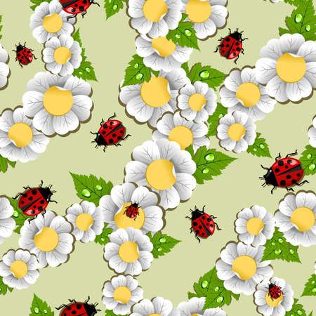 Spring ladybug, flowers, leaves and water drop seamless pattern. Vector file layered for easy manipulation and custom coloring. Vector
