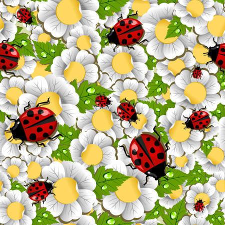 pollination: Spring ladybug, flowers, leaves and water drop seamless pattern. Vector file layered for easy manipulation and custom coloring. Illustration