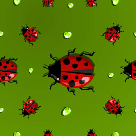 Spring beetle and water drop seamless pattern. Vector file layered for easy manipulation and custom coloring. Stock Vector - 17878246