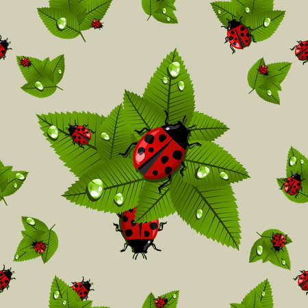 beetle: Lucky spring leaves and ladybird seamless pattern. Vector file layered for easy manipulation and custom coloring. Illustration