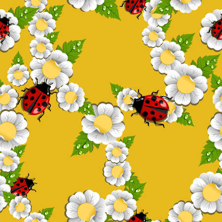 Lucky spring flowers and beetle seamless pattern. Vector file layered for easy manipulation and custom coloring. Stock Vector - 17878322