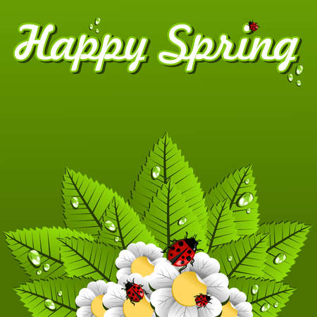 Happy Spring flowers, leaves and ladybug background. Vector file layered for easy manipulation and custom coloring. Vector