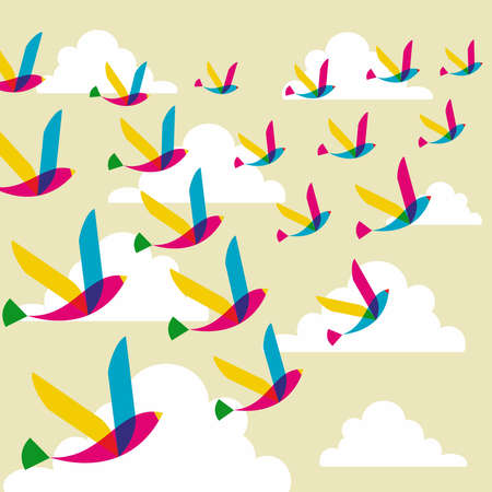 Spring transparency flying birds seamless pattern. Vector file layered for easy manipulation and custom coloring. Vector