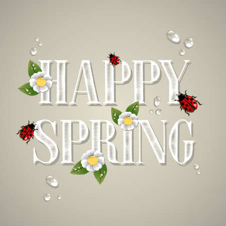 Happy spring text composition with flowers, leaves, water drops and beetles. Vector file layered for easy manipulation and custom coloring. Stock Vector - 17878321