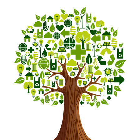 sustainable resources: Environmental conservation icons set in tree shape. illustration layered for easy manipulation and custom coloring.