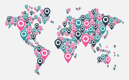 World map Gps navigator icon shape. file layered for easy manipulation and custom coloring. Stock Vector - 17878236