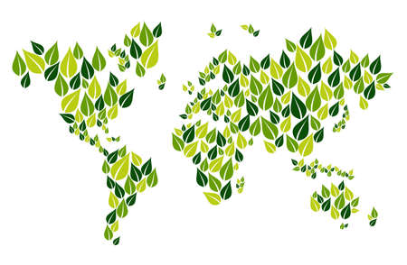 sustainable tourism: Green leaves in world map shape isolated over white. Vector file layered for easy manipulation and custom coloring. Illustration