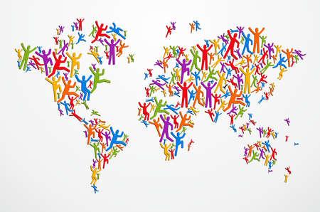 Les gens de la diversité multicolores en forme carte Globe isolé. fichier en couches pour une manipulation aisée et la coloration personnalisée.