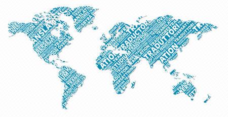 Multi-language Weltkarte Textform. Datei für eine einfache Handhabung und individuelle Färbung geschichtet. Vektorgrafik
