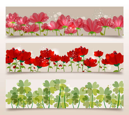 Spring time contemporary transparent flowers banner set. EPS10 file version. This illustration contains transparencies and is layered for easy manipulation and customization. Stock Vector - 17877916