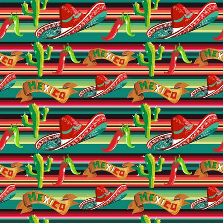 Mexico seamless pattern with cactus, hat and chill over stripped background. Vector illustration layered for easy manipulation and custom coloring. Vector