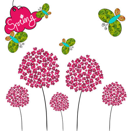Fresh Spring background with butterfly and flower. Vector file layered for easy manipulation and custom coloring. Illustration