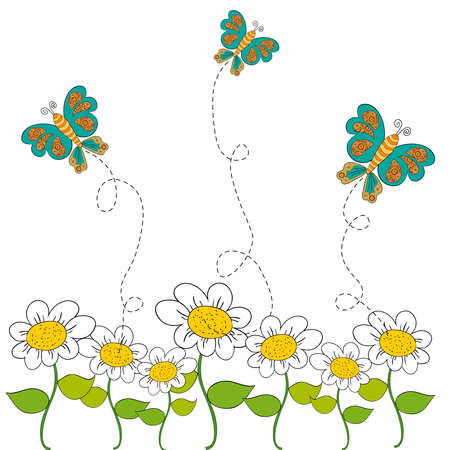 dashed: Flying butterfly and flowers spring background. Vector file layered for easy manipulation and custom coloring.