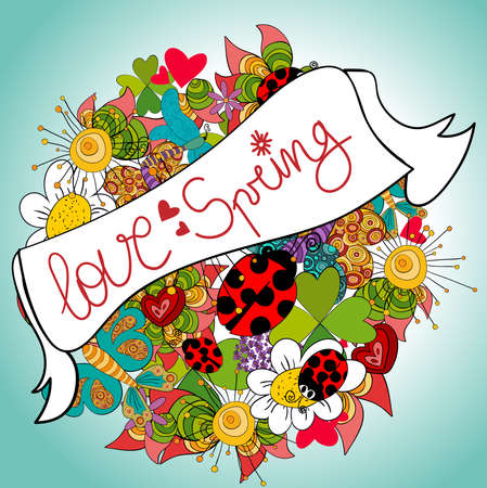 Love spring vibrant colors composition background. Vector file layered for easy manipulation and custom coloring. Stock Vector - 17877919