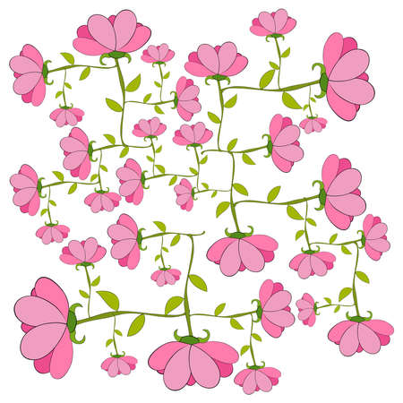 haulm: Pink spring flowers isolated. file layered for easy manipulation and custom coloring.