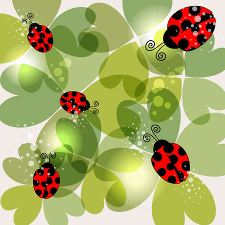 spring time: Spring time transparent clovers and beetles background. This illustration contains transparencies and is layered for easy manipulation and customization.