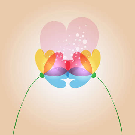 spring time: Spring time contemporary transparent couple of flowers in love. EPS10 file version. This illustration contains transparencies and is layered for easy manipulation and customization.