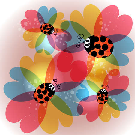 Spring time contemporary transparent flowers and beetles background. EPS10 file version. This illustration contains transparencies and is layered for easy manipulation and customization. Stock Vector - 17877918