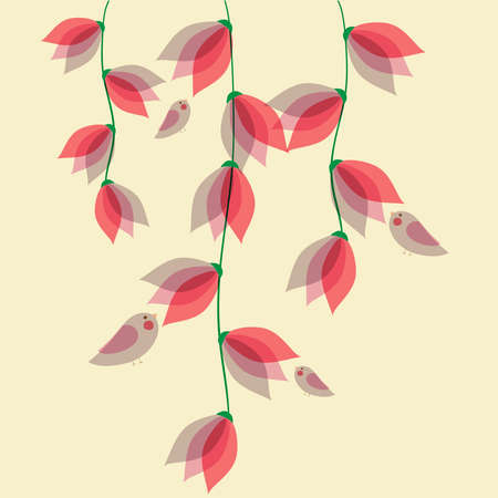 transparencies: Spring time contemporary transparent flowers and birds background. EPS10 file version. This illustration contains transparencies and is layered for easy manipulation and customization. Illustration