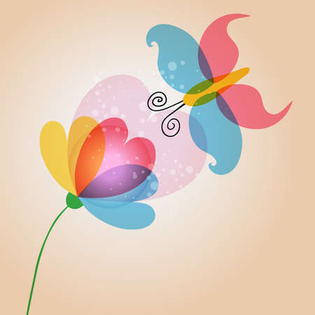 Spring time lovely transparent flower and butterfly. EPS10 file version. This illustration contains transparencies and is layered for easy manipulation and customization. Stock Vector - 17878413