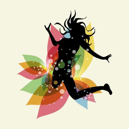 pulando: Mulher de salto feliz com elementos de mola transparentes. Vers