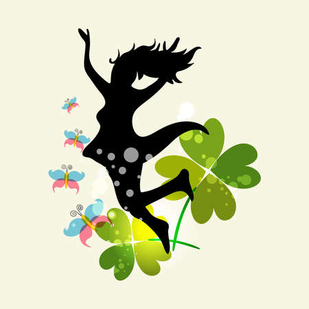 Happy jumping woman with spring elements. EPS10 file version. This illustration contains transparencies and is layered for easy manipulation and custom coloring Vector