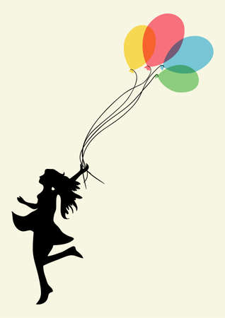 Happy dancing woman with floating balloons.  Vector