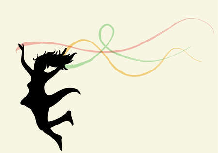 Free jumping woman with ribbons. EPS10 file version. This illustration contains transparencies and is layered for easy manipulation and custom coloring Vector