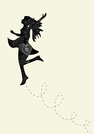 freedom of expression: Happy dance woman with outline floral elements. Vector illustration layered for easy manipulation and custom coloring. Illustration